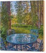 An Early Morning On The Deck At Cottonwood Cottage Wood Print