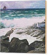 An Egret's View Seascape Wood Print