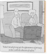 An Elderly Couple Watches Television Wood Print