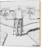 An Elderly Man Is Seen Standing Next To Two Arrow Wood Print