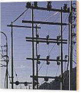 An Electric Transmission Pole In The Himalayas Wood Print