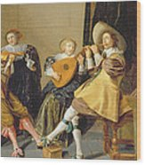 An Elegant Company Playing Music In An Wood Print by Dirck Hals