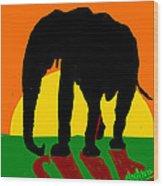 An Elephant And Sun Wood Print