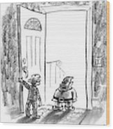 An Elf Arrives At A Child's Front Door Wood Print