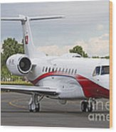 An Embraer Legacy 600 Private Jet Wood Print