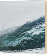An Empty Wave Breaks Over A Shallow Reef Wood Print