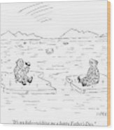 An Eskimo Floating On An Ice Float Holding Wood Print