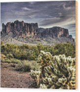 An Evening At The Superstitions Wood Print