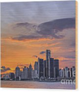 An Evening In Detroit Michigan  Wood Print