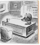 An Executive Sits At His Desk And An Employee's Wood Print