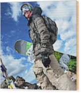 An Extreme Snowboarder Stands Wood Print
