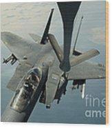 An F-15e Strike Eagle Receives Fuel Wood Print