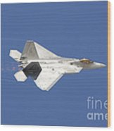 An F-22 Raptor In Flight Over Nellis Wood Print