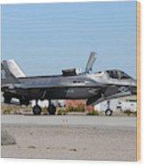 An F-35b Lightning II Landing At Marine Wood Print