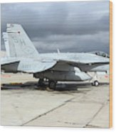 An Fa-18c Hornet On The Ramp At Marine Wood Print