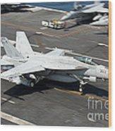 An Fa-18e Super Hornet Hooks An Wood Print
