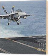 An Fa-18f Super Hornet Prepares To Land Wood Print