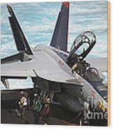 An Fa-18f Super Hornet Sits Wood Print by Stocktrek Images
