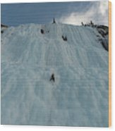 An Ice Climber In The Middle Wood Print
