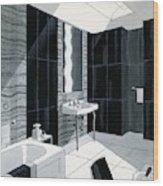 An Illustration Of A Bathroom Wood Print