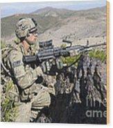 An Infantryman Provides Overwatch Wood Print