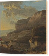 An Italianate Landscape With Travellers Ambushed By Bandits Wood Print