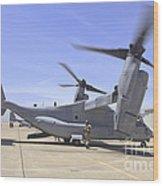 An Mv-22 Osprey Taxiing At Marine Corps Wood Print