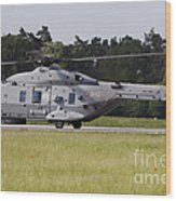 An Nh90 Helicopter Of The Italian Navy Wood Print