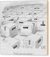An Office  Full Of Locked Boxes With Eyes Looking Wood Print