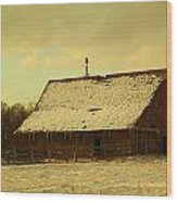 An Old Barn Just After An Early Spring Snow In Keene North Dakota  Wood Print
