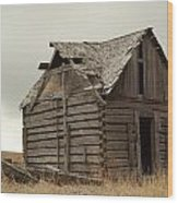 An Old Cabin In Eastern Montana Wood Print