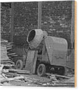 An Old Cement Mixer And Construction Material Wood Print
