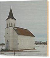 An Old Church In North Dakota Wood Print by Jeff Swan