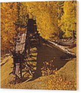 An Old Colorado Mine In Autumn Wood Print