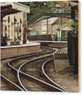 An Old-fashioned Train Station Wood Print