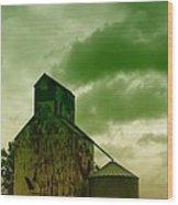 An Old Grain Silo In Eastern Montana Wood Print