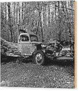 An Old Logging Boom Truck In Black And White Wood Print