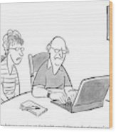 An Old Man And Old Woman Sit At A Laptop Wood Print
