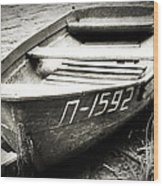 An Old Row Boat In Black And White Wood Print
