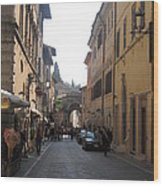 An Old Street In Assisi Italy  Wood Print