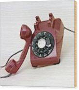 An Old Telephone Wood Print