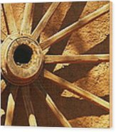 An Old Wagon Wheel In Carillos New Mexico Wood Print