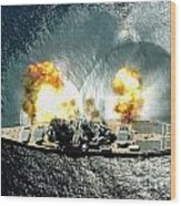 An Overhead View Of The Battleship Uss Iowa Bb61 Firing All 15 Of Its Guns Wood Print