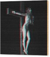 Anaglyph Dark Crucifix Wood Print