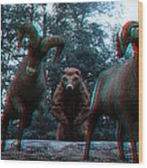 Anaglyph Wild Animals Wood Print