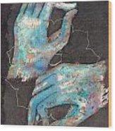 Anahata - Heart 'blue Hand' Chakra Mudra Wood Print