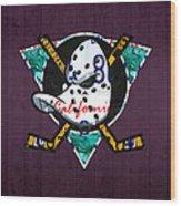 Anaheim Ducks Hockey Team Retro Logo Vintage Recycled California License Plate Art Wood Print