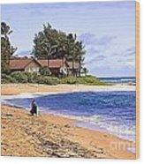 Anahola Beach Kauai Wood Print