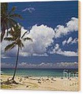 Anakena Beach On Easter Island Wood Print