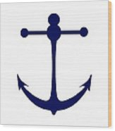 Anchor In Navy And White Wood Print